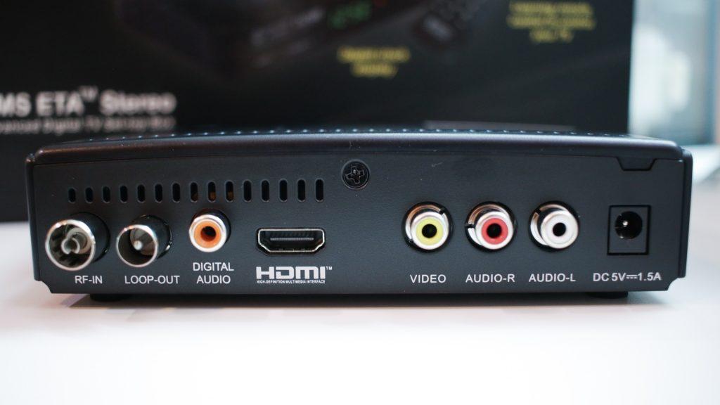 Ports at the back of NMS ETA Digital TV Set-Top Box