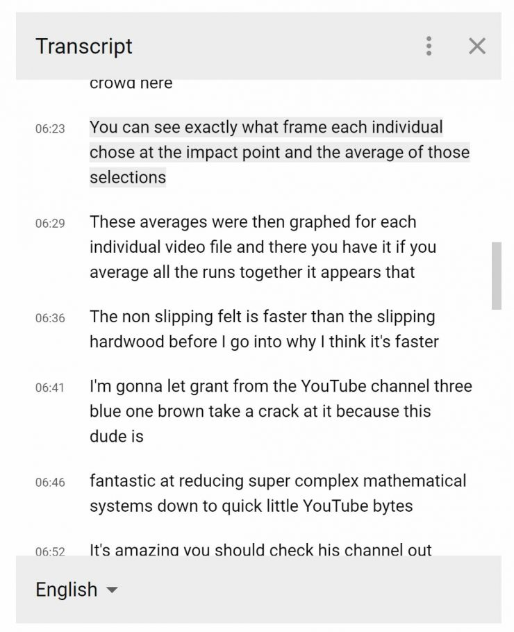 Example of Transcript on YouTube