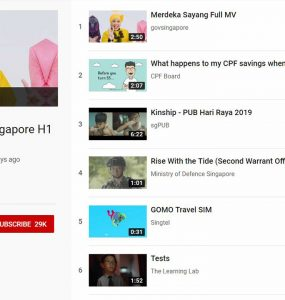 Top 10 YouTube Ads Singapore H1 2019