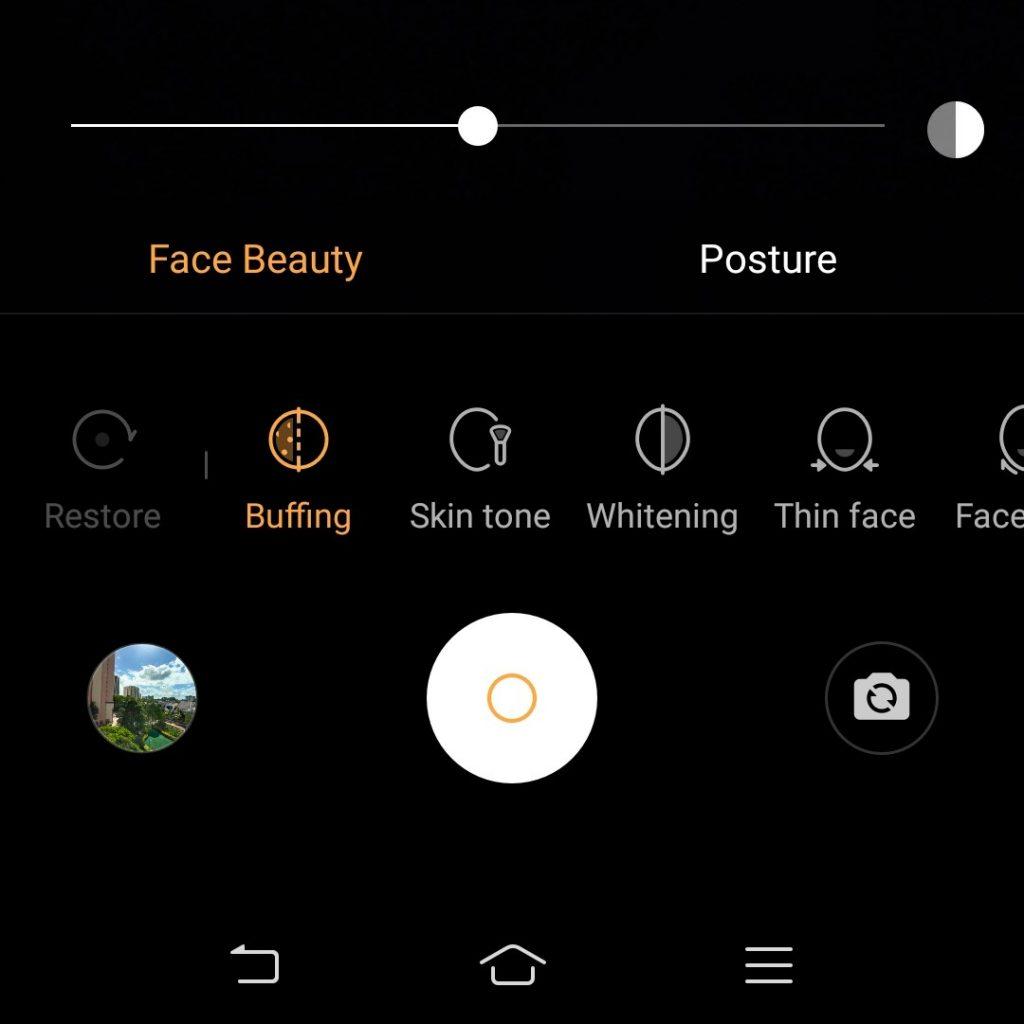 Screenshot of Face Beauty feature on Vivo V17 Pro