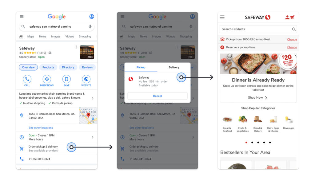 Google Maps with new pickup and delivery