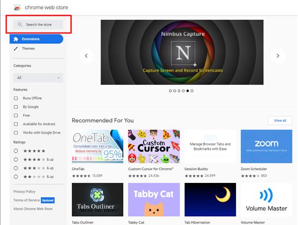 Chrome Web Store Interface