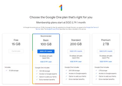 Google One Storage Plans