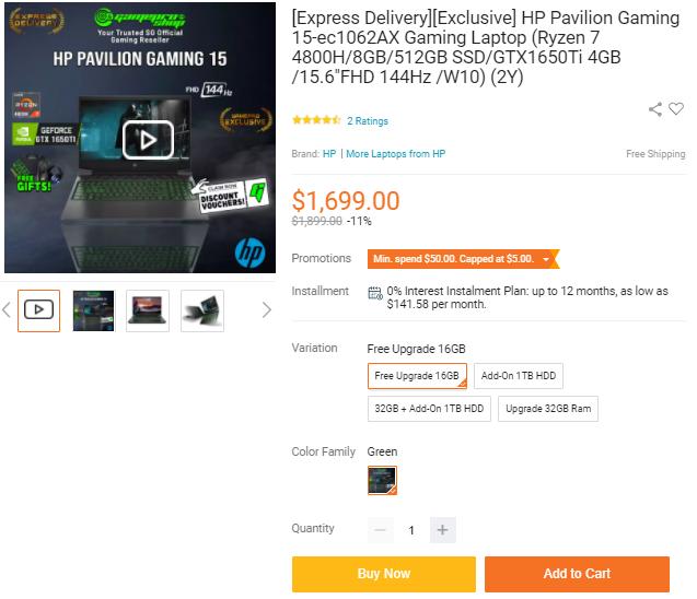 HP 15-inch Gaming Laptop 15-ec1062AX