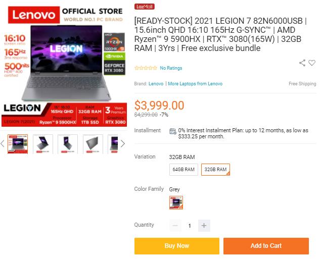 Lenovo 15-inch Gaming Laptop 82N6000USB