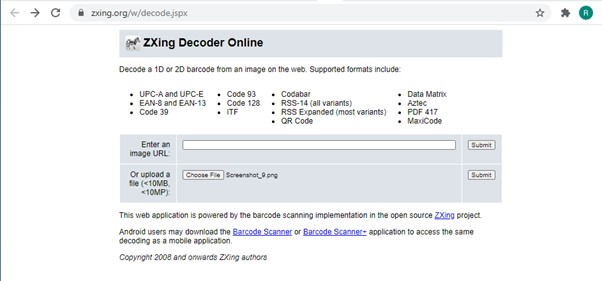 Screenshot of ZXing Decoder Online