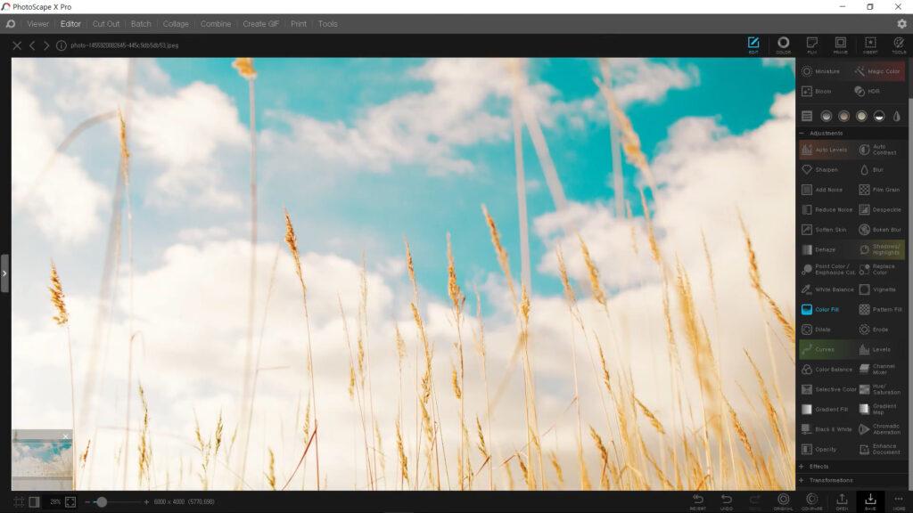 PhotoScape X Edit Controls