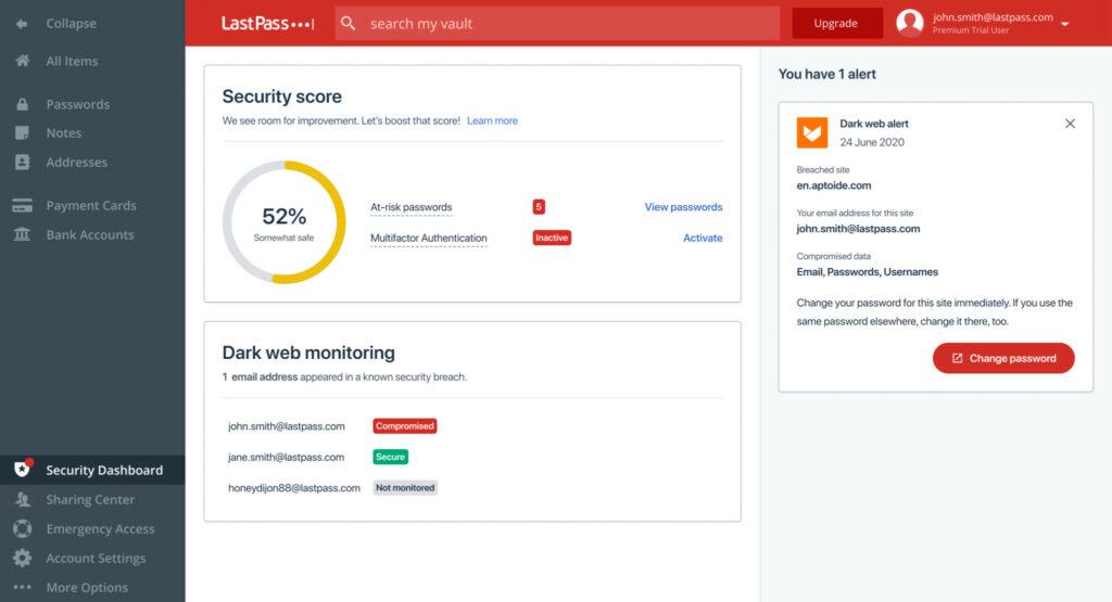 LastPass Password Manager (Dashboard)